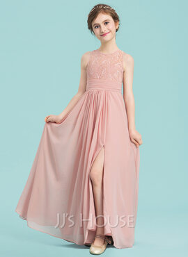 A-Line Scoop Neck Floor-Length Chiffon Junior Bridesmaid Dress With Ruffle Split Front (009149007)