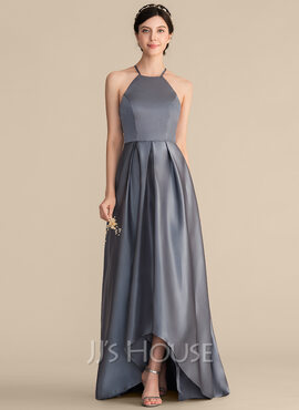A-Line Square Neckline Asymmetrical Satin Prom Dresses With Ruffle Bow(s) (018186920)