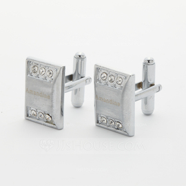 Personalized Stainless Steel Cufflinks With Diamond Rhinestone (Set of 2) (118031923)