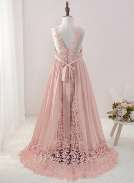 A-Line Floor-length Flower Girl Dress - Chiffon/Lace Sleeveless V-neck With Beading (010195364)