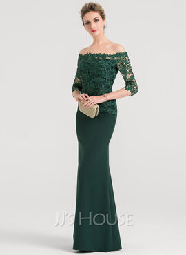 Sheath/Column Off-the-Shoulder Floor-Length Stretch Crepe Evening Dress (017147967)