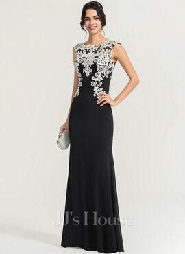 Sheath/Column Scoop Neck Floor-Length Jersey Evening Dress (017167682)
