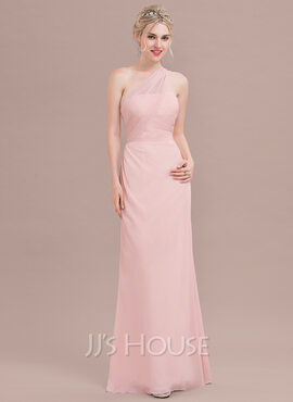 A-Line/Princess One-Shoulder Floor-Length Chiffon Bridesmaid Dress With Ruffle (266177058)