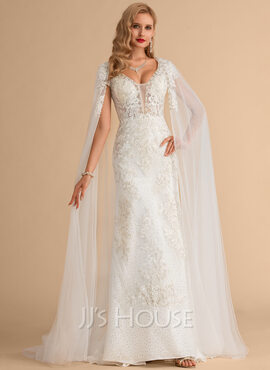 Trumpet/Mermaid V-neck Court Train Tulle Lace Wedding Dress With Beading Sequins (002215667)
