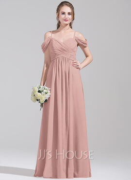 A-Line/Princess Off-the-Shoulder Floor-Length Chiffon Bridesmaid Dress With Ruffle (007072789)