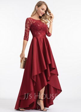 A-Line Scoop Neck Asymmetrical Satin Prom Dresses With Sequins (018221170)