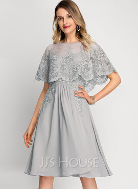 A-Line Scoop Neck Knee-Length Chiffon Cocktail Dress (016212859)