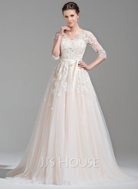Ball-Gown V-neck Court Train Tulle Wedding Dress With Beading Appliques Lace Sequins Bow(s) (002071524)
