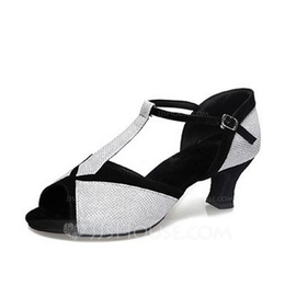 Women's Leatherette Heels Sandals Latin With T-Strap Dance Shoes (053056407)