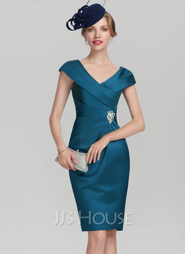 Sheath/Column V-neck Knee-Length Satin Mother of the Bride Dress With Ruffle Beading (267177752)