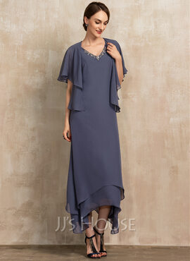 A-Line V-neck Ankle-Length Chiffon Cocktail Dress With Beading (016236977)