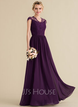 A-Line/Princess V-neck Floor-Length Chiffon Lace Bridesmaid Dress (007131068)