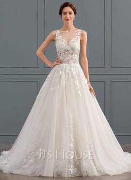 Ball-Gown/Princess Scoop Neck Chapel Train Tulle Wedding Dress (002134394)