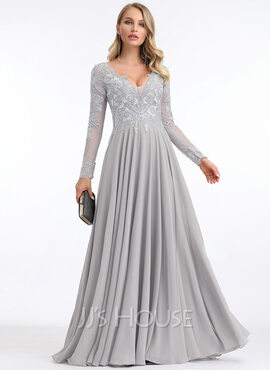 A-Line V-neck Floor-Length Chiffon Evening Dress (017204973)