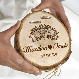 Classic/Personalized Wood Ring Holder With Rustic Twine (103201144)