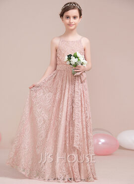 A-Line Scoop Neck Floor-Length Lace Junior Bridesmaid Dress With Bow(s) (009106856)