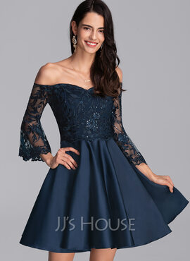 A-Line Off-the-Shoulder Short/Mini Satin Homecoming Dress With Sequins (022206529)