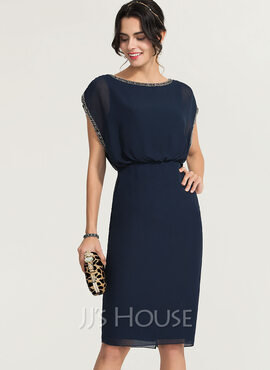 Sheath/Column Scoop Neck Knee-Length Chiffon Cocktail Dress With Beading (016170867)