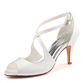Women's Silk Like Satin Stiletto Heel Peep Toe Pumps (047190297)