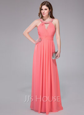 A-Line/Princess Scoop Neck Floor-Length Chiffon Holiday Dress With Ruffle Beading Sequins (020041080)