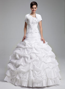 Ball-Gown One-Shoulder Floor-Length Taffeta Quinceanera Dress With Ruffle Beading Appliques Lace Flower(s) Sequins (021004719)