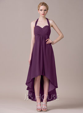 A-Line/Princess Halter Asymmetrical Chiffon Bridesmaid Dress With Ruffle Bow(s) (007056853)