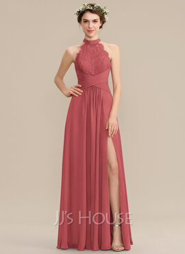 A-Line High Neck Floor-Length Chiffon Lace Prom Dresses With Ruffle Split Front (018229947)