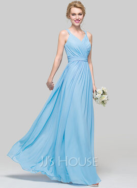 A-Line/Princess V-neck Floor-Length Chiffon Bridesmaid Dress With Ruffle Bow(s) (007090187)