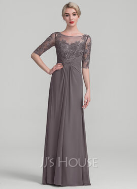 A-Line/Princess Scoop Neck Floor-Length Chiffon Lace Mother of the Bride Dress With Ruffle Beading Sequins (008114227)
