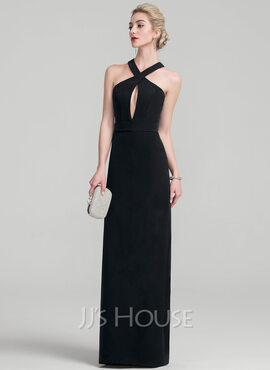 Sheath/Column Floor-Length Stretch Crepe Evening Dress (017116351)