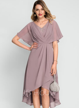 A-Line V-neck Asymmetrical Chiffon Cocktail Dress With Beading Sequins (016212873)