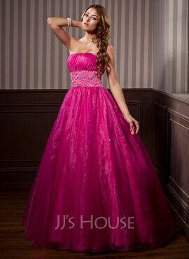 Ball-Gown Strapless Floor-Length Organza Quinceanera Dress With Ruffle Beading (021014267)