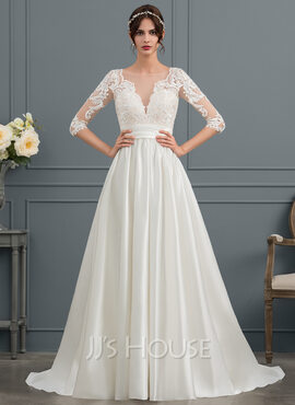 Ball-Gown/Princess Scoop Neck Court Train Satin Wedding Dress With Ruffle (002153441)