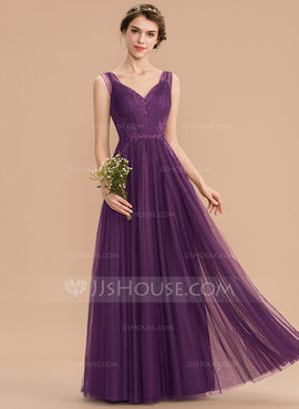 A-Line V-neck Floor-Length Tulle Lace Bridesmaid Dress (007176743)