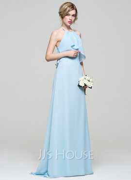 A-Line/Princess Halter Sweep Train Chiffon Bridesmaid Dress With Cascading Ruffles (007074194)