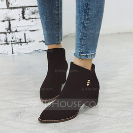 Women's Suede Chunky Heel Pumps Boots Ankle Boots With Sequin Zipper shoes (088221282)