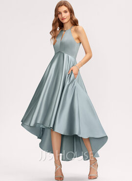 A-Line Scoop Neck Asymmetrical Satin Bridesmaid Dress With Pockets (007221221)