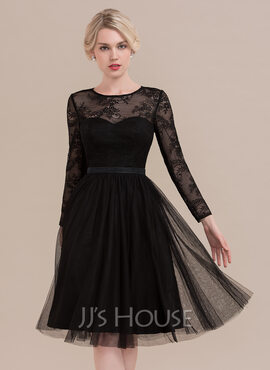 A-Line Scoop Neck Knee-Length Tulle Cocktail Dress (016108725)