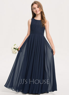 A-Line Scoop Neck Floor-Length Chiffon Junior Bridesmaid Dress With Ruffle (009208581)