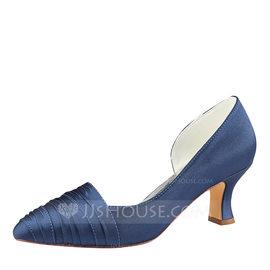 Women's Silk Like Satin Stiletto Heel Pumps With Ruffles (047190299)