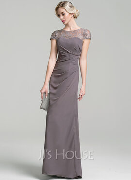 Sheath/Column Scoop Neck Floor-Length Chiffon Mother of the Bride Dress With Ruffle (008091964)
