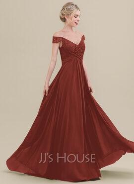 A-Line Off-the-Shoulder Floor-Length Chiffon Lace Bridesmaid Dress With Ruffle (007116656)