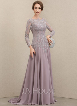 A-Line Scoop Neck Sweep Train Chiffon Lace Mother of the Bride Dress With Sequins (008202420)