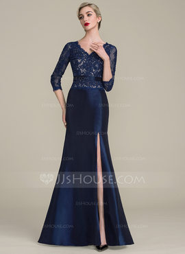 Trumpet/Mermaid V-neck Floor-Length Taffeta Lace Mother of the Bride Dress With Beading Sequins Split Front (008102704)