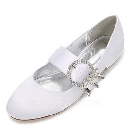 Women's Silk Like Satin Flat Heel Closed Toe Flats With Crystal (047187631)