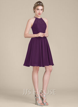 A-Line Scoop Neck Knee-Length Chiffon Lace Bridesmaid Dress (007104744)