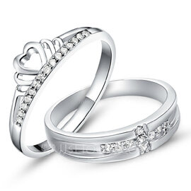 Sterling Silver Cubic Zirconia Heart Round Cut Couple's Rings - Valentines Gifts (289229793)