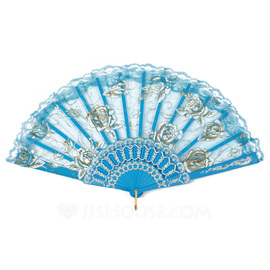Flower Design Plastic/Lace Hand fan