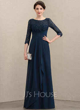 A-Line Scoop Neck Floor-Length Chiffon Lace Mother of the Bride Dress With Cascading Ruffles (008197129)