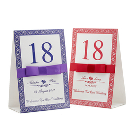 Personalized Floral Design Paper Table Number Cards With Ribbons (Set of 10) (118032334)